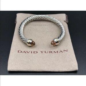 David Yurman 2 Tone Bangle &Morganite Sz Medium